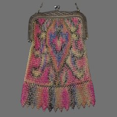 Vintage Whiting and Davis Tagged Evening Bag – Colorful Dresden Chain Mesh Flapper Purse