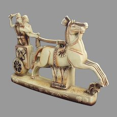 Vintage S&V Schafer and Vater Belsazar Figurine with Horse Drawn Chariot - Beautiful Detail