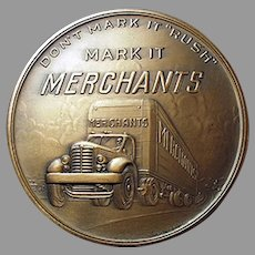Vintage Bronze Advertising Paperweight Medallion - Merchants Motor Freight with Truck Graphics