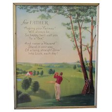 Vintage 1960's Motto Print for Father with Golfing Theme and Graphics