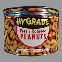 Vintage 1950's Key Wind Hy-Grade Peanuts Advertising Nut Tin