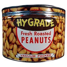 Vintage 1950's Key Wind Hy-Grade Peanuts Advertising Nut Tin