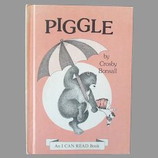 "Child's 1973 Vintage I Can Read First Edition Book ""Piggle"" by Crosby Bonsall"