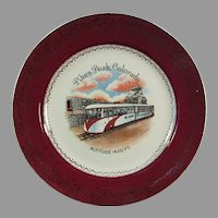 Vintage Pikes Peak Colorado Souvenir Plate - Streamline Tram Cog Train