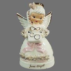 Vintage June Birthday Angel with Wedding Rings - Napco Original