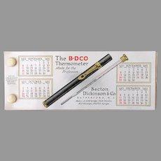 Vintage 1921 Blotter - Medical Advertising B-D Thermometer