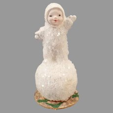 Vintage Miniature Snow Baby on Tiny Snowball – Made in Germany