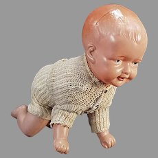 Vintage Celluloid Windup Baby Doll with Crawling Action - Celluloid Wind Up Toy
