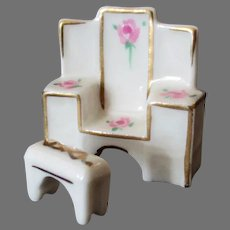 Vintage Miniature Doll Furniture - Dressing Table and Bench Set  – Bone China