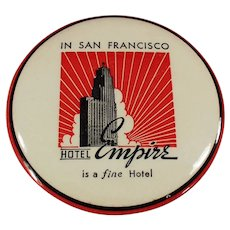 Vintage Celluloid Advertising Souvenir Clothes Brush - San Francisco's Hotel Empire