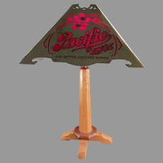 Vintage Atlantic and Pacific Advertising Table Lamp - Delicate Original Paper Shade
