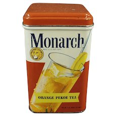 Vintage Reid Murdoch Monarch Orange Pekoe Tea Tin with Colorful Graphics