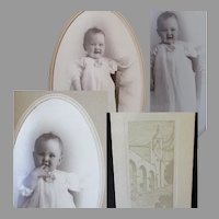 Three (3) Vintage Baby Photographs in Boise Union Pacific Depot Folder Frames