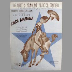 Vintage Sheet Music with Cowgirl - Night is Young & You're So Beautiful