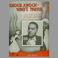 Vintage 1936 Sheet Music with Fun Puns - Knock, Knock Who's There?
