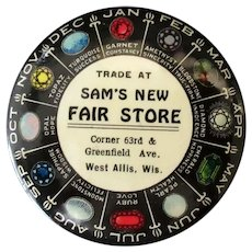Vintage Celluloid Advertising Mirror with Sam's New Fair Store Advertising and Birthstone Chart