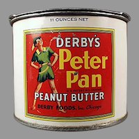 Vintage Derby Foods Peter Pan Peanut Butter Tin and Advertising Pry Key