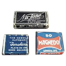 Assorted Vintage Steel Phonograph Needles Boxes - Three Little Boxes