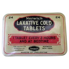 Vintage Norwich Laxative Cold Medicine Tablets Tin - Medical Advertising