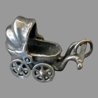 Vintage Silver Charm – Baby Buggy with Moving Wheels and Bonnet