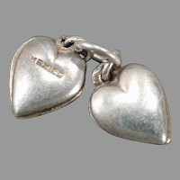 Tiny Vintage Silver Puffy Hearts Charm - Made in Mexico