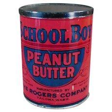 Vintage School Boy Peanut Butter Tin - Rogers Co. Seattle and Tacoma Washington