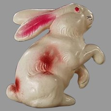 Vintage Celluloid Rattle - White & Pink Easter Bunny Rabbit Toy