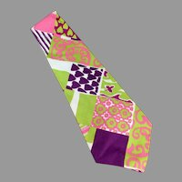 Men's Hand Made Vintage Necktie - Wide, Wild & Vividly Colored Like Easter