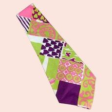 Men's Hand Made Vintage Necktie - Wide, Wild & Vividly Colored Like Easter