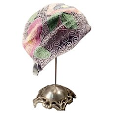 Vintage Cloche Hat with a Colorful Floral Stitched Design in Pretty Springtime Pastels