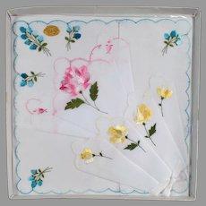 Vintage Hankies - Three Handkerchiefs with Pretty Flowers - 3 in Original Packaging