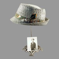Boy's Vintage Fedora Hat with Old Photo of Original Owner - Unusual Woven Straw
