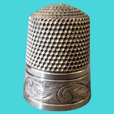 Vintage Sterling Silver Sewing Thimble, Simons Brothers Size 11 – Hand Tooled Scroll Design