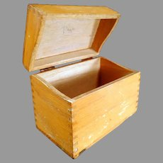 Vintage Oak File Box - Standard Index Card Size for Kitchen or Office Use