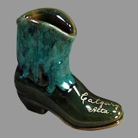 Vintage Pottery Boot Vase - Calgary Canada Souvenir - Pretty Glaze