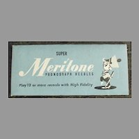 Vintage Steel Phonograph Needle Unopened Packet - Meritone 25 for 78rpm Records