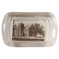 Vintage Glass Advertising Paperweight - First Methodist Church Cheyenne, Wyoming Souvenir