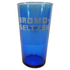Vintage Cobalt Blue Bromo-Seltzer Advertising Glass with Dose Measuring Line