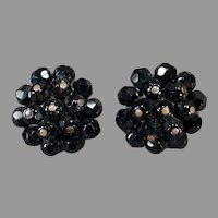 Vintage Laguna Costume Jewelry Earrings - Clip On Black Bead Clusters