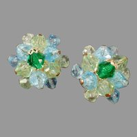 Vintage Costume Jewelry Earrings - Blue and Green Glass Beads - Clip-On