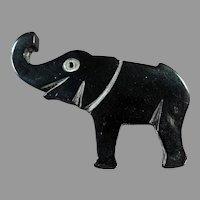 Vintage Black Plastic Elephant, Deco Style Lapel Pin