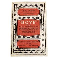 Vintage Boye Steel Phonograph Needle Pkg. - Unopened Package of 80