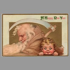 Vintage 1915 Frances Brundage New Years Postcard Father Time - Panama-Pacific Expo