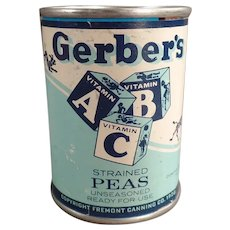 Vintage Advertising Bank - Gerber Strained Peas ABC Baby Food Tin