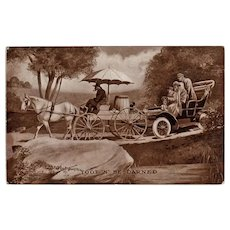 Humorous 1909 Antique Postcard - Horse Cart and Old Automobile