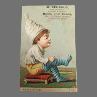 Antique Advertising Trade Card from San Francisco - Boot and Shoe at Russ House