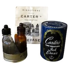 Vintage Carter's Ink Eraser - Two Bottle Solution with Original Tin