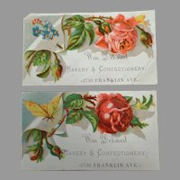 Two Antique Advertising Trade Cards - Dehnert Bakery & Confectionery
