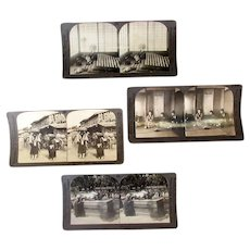 Four Vintage Stereoscopic Stereo View Cards with Scenes of Life in Japan