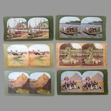 Six Vintage Stereoscopic Stereo View Cards with Scenes in Color